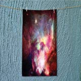towel bar Magical Gas Cloud Nebula in with Light Solar Zone Print Red Multipurpose Quick Drying W11.8 x H27.5 INCH