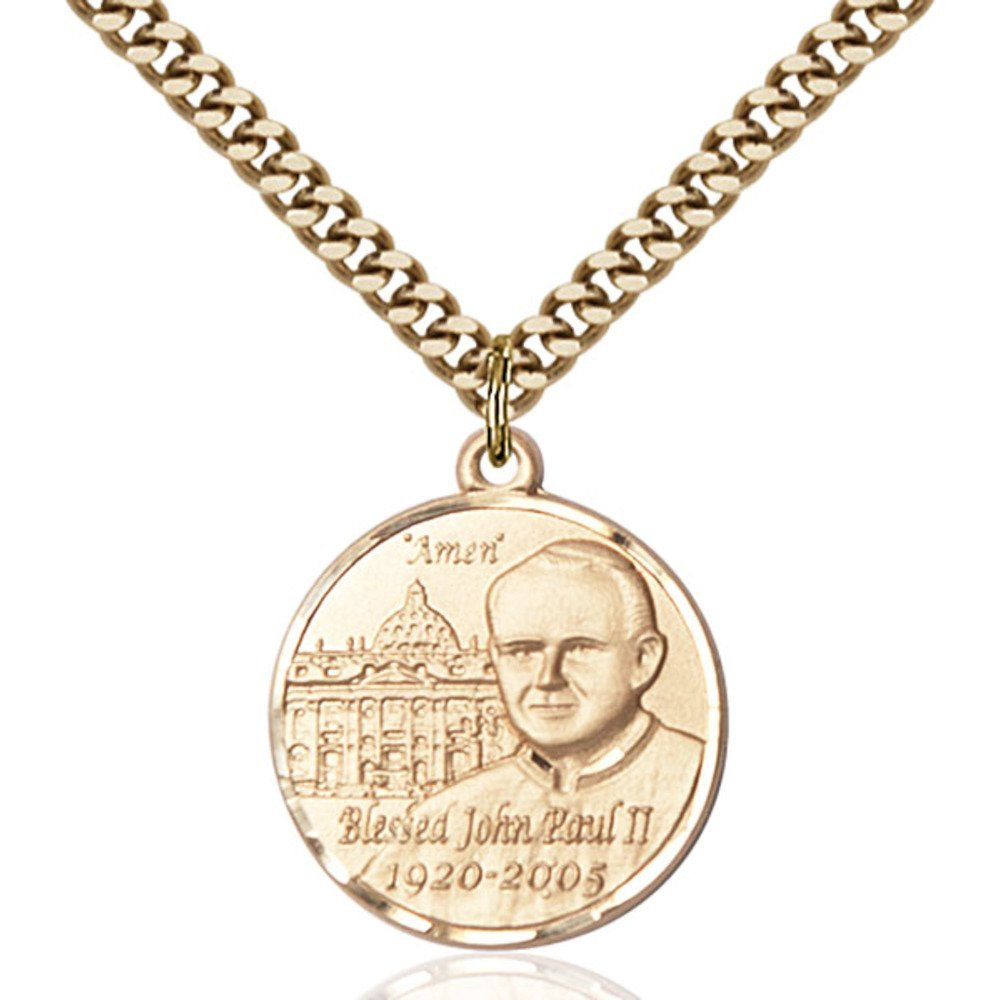 Gold Filled St. John Paul II Pendant 3/4 x 3/4 inches with Heavy Curb Chain by Bonyak Jewelry Saint Medal Collection