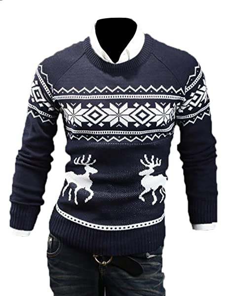 00512d26c WSPLYSPJY Mens Ugly Christmas Sweater Reindeer Climax Tacky ...
