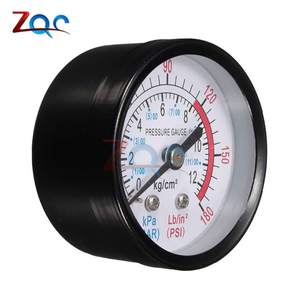 Bar Air Pressure Gauge 13mm 1//4 BSP Thread Double Scale For Air Compressor JQ