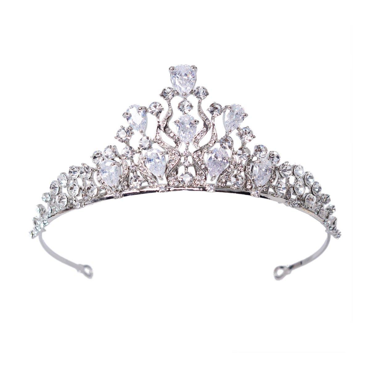 FF Bridal Crown Tiaras for Brides Wedding Hair Accessories (Silver)