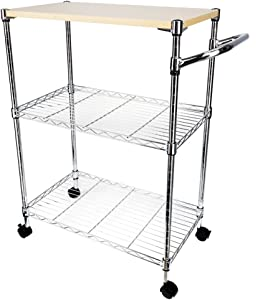 Wire Kitchen Rolling Cart on Wheels,3-Tier Adjustable Shelves Utility Microwave Stand, Food Service Cart w/Handle, Wooden Top Storage Metal Rack Organizer Silver