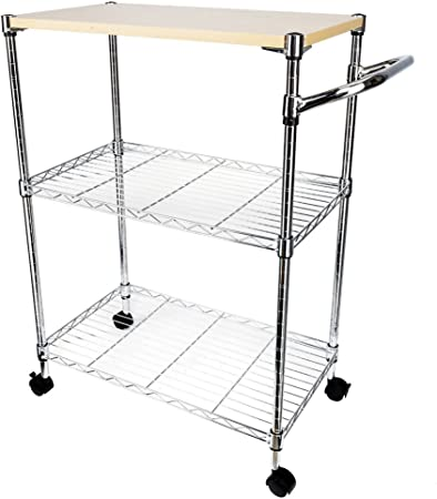NEX Rustic Kitchen Cart on Wheels MDF Wood Top and Metal Frame 3-Tier Wire Storage Cart