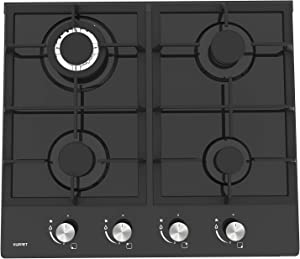 "24"" Built-in Gas Cooktop - KUPPET GH604A Stove with 4 Booster Burners Smooth Surface Black Tempered Glass Stainless Steel (4 Booster), ETL Safety Certified by KUPPET"