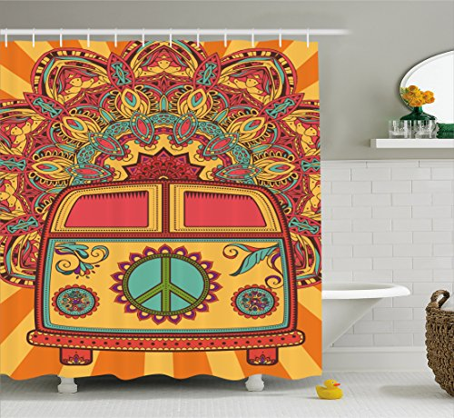 Ambesonne 70s Party Decorations Shower Curtain, Hippie Vintage Mini Van Ornamental Backdrop Peace Sign, Fabric Bathroom Decor Set with Hooks, 70 inches, Coral Orange Turquoise for $<!--$29.95-->