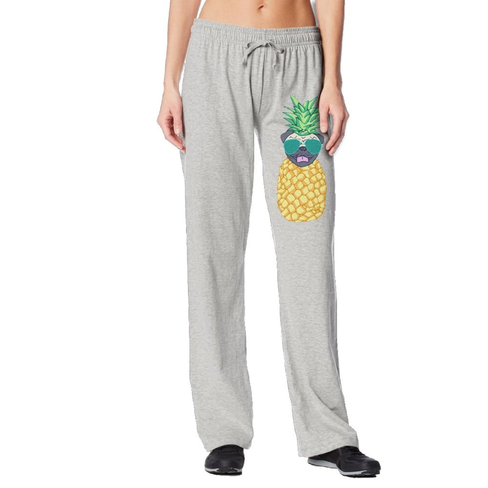 Cindly Pineapple Pug With Glasses Womens Sweat Pants With Pockets 100% Cotton