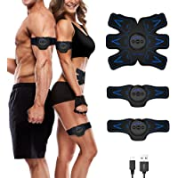 sakobs EMS Trainingsgerät Bauchmuskeltrainer Muskelstimulator USB Wiederaufladbar Smart Fitness Gerät für Arm Bauch Beine Bizeps Trizeps für Herren Damen zur Muskelaufbau und Fettverbrennung
