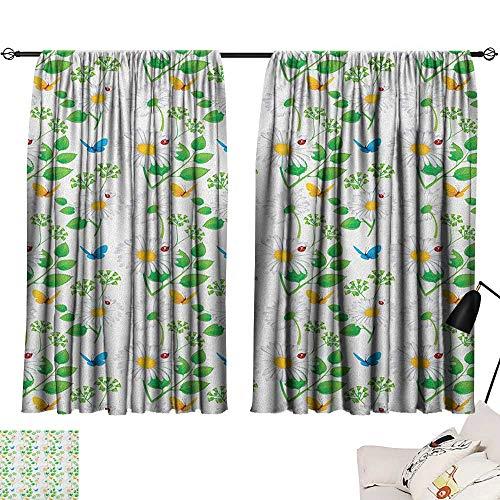 Shades Window Treatment Valances Curtains Ladybugs,Macro Chamomiles and Ladybugs Illustration Playful Magic Spirits of the Nature, White Green 54