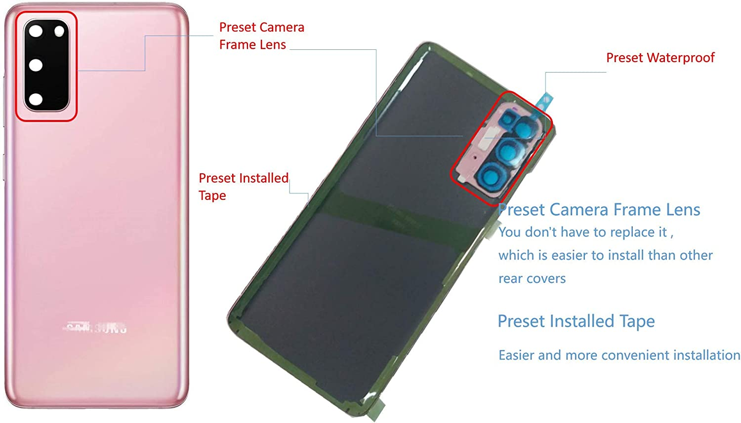 Cloud Pink Galaxy S20 Back Glass Replacement Housing Door Parts with Camera Frame Lens,with Pre Intalled Tape,with Waterproof for Samsung Galaxy S20 with Tools