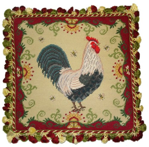 - Deluxe Pillows Rooster and Red - 20 x 20 in. needlepoint pillow