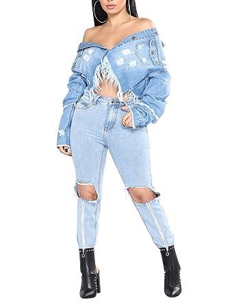 Blouson jean clair femme