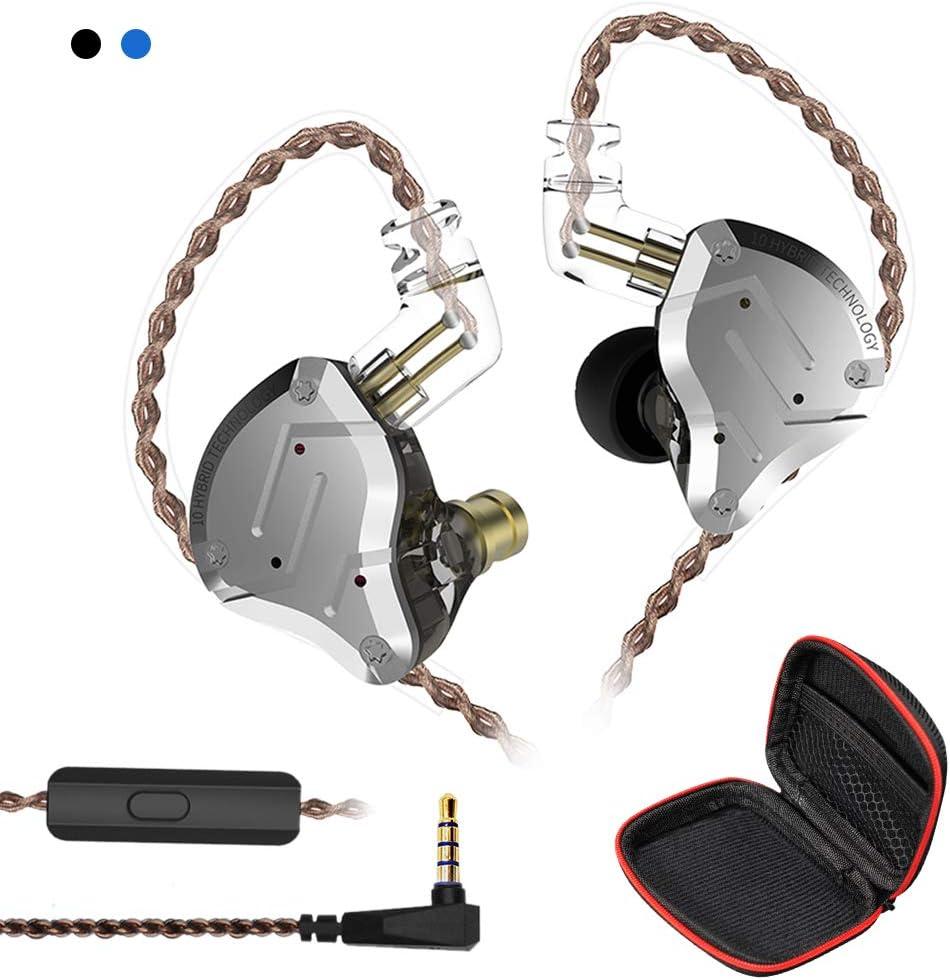 Ger/äuschunterdr/ückung 1DD Stereo-Ohrh/örer ZS10-C Professionelle Kopfh/örer Hybrid-Treiber 4BA KZ Hochaufl/ösende elektronische Frequenzweiche