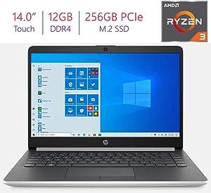HP 14.0-inch HD Touchscreen Laptop PC, AMD Ryzen 3 3200U 2.6GHz Processor 12GB DDR4 RAM, 256 GB PCIe NVMe M.2 SSD, Stereo Speakers, AMD Radeon Vega 3 Graphics, Bluetooth, HDMI, WiFi, Windows 10