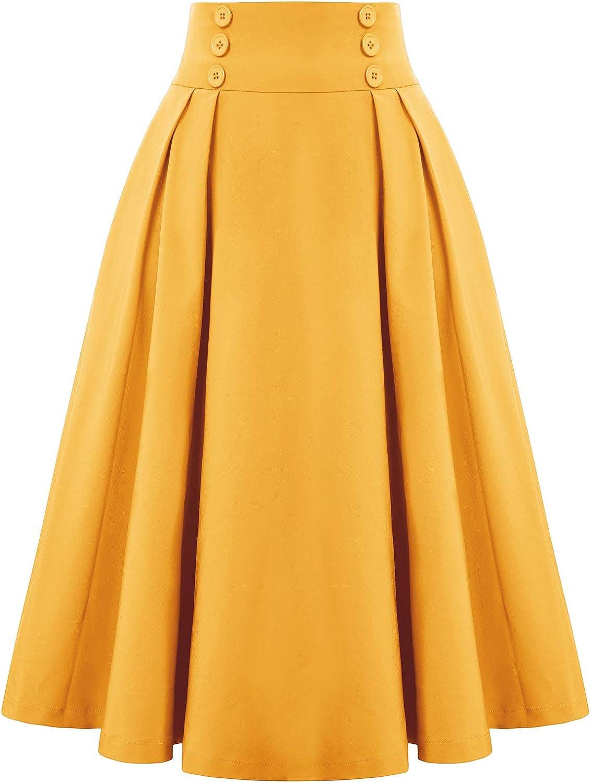 Belle Poque Falda de Vuelo de Color sólido de Cintura Alta Retro Vintage para Mujer con Bolsillos BPE02150