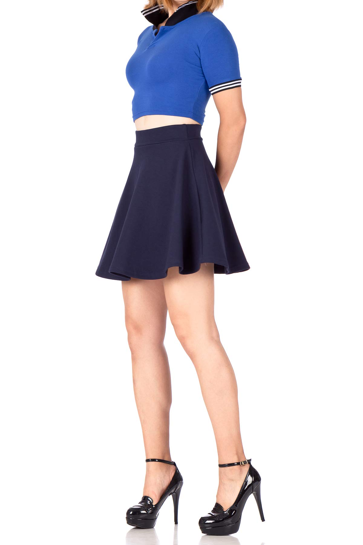 Basic Solid Stretchy Cotton High Waist A-line Flared Skater Mini Skirt (S, Navy)