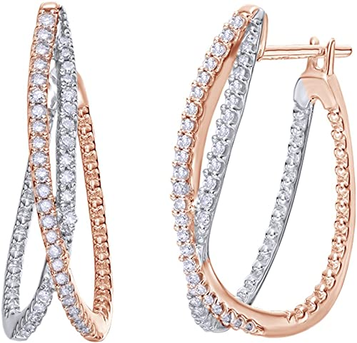 Round Simulated Diamond Hoop Earrings 18k Rose Gold Over Silver