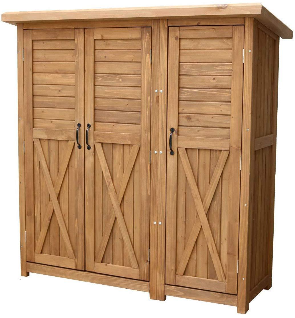 ■物置 倉庫 収納庫 屋外 天然木 木製 庭 物入れ おしゃれ 大型 北欧 /(ライトブラウン) B071VM8CJJ ライトブラウン(LB)