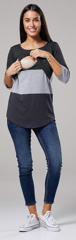 HAPPY MAMA Mujer Top Camiseta Premam/á Lactancia Bloque De Color Doble Capa 150p