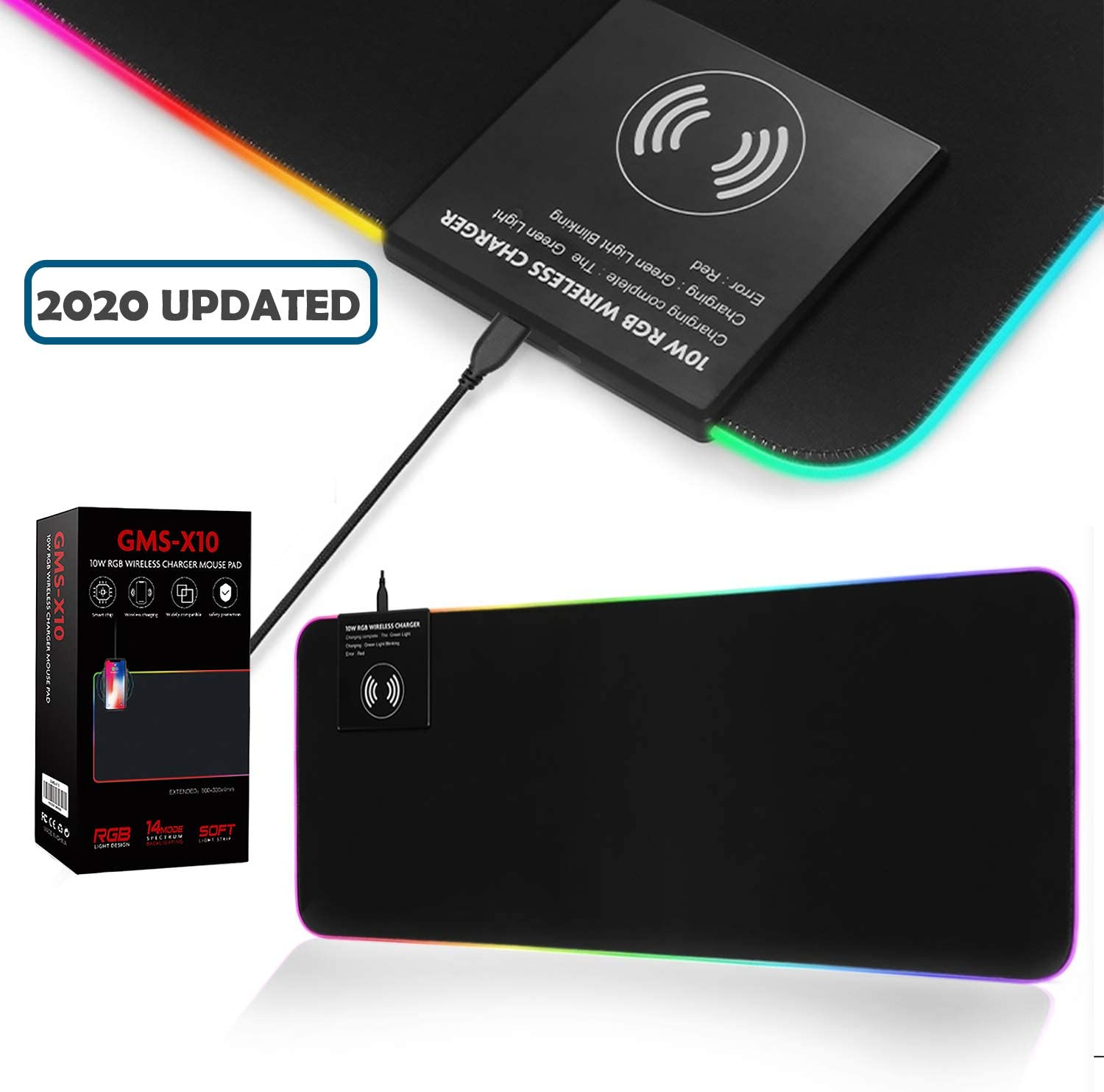 Large RGB Gaming Mouse Mat Wireless Charging,2 in 1 Glowing Extended Mousepad Not-Slip Rubber Base Keyboard Pad-Black 325x255mm