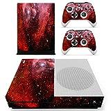 eSeeking Whole Body Vinyl Skin Sticker Decal Cover for Microsoft Xbox One Slim Console Red Galaxy Nebular