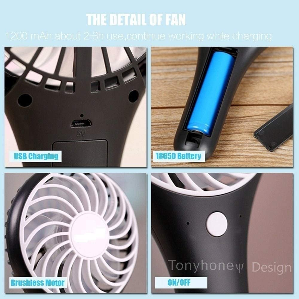USB Hand held Personal Fans Rechargeable Battery Powered Hand held Fan with Base Battery Home Office Bedroom and Outdoor Travel HWZXBCC Mini Handheld Portable Fan Color : Blue