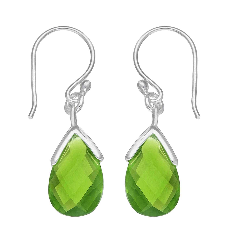 cdba56c6a Adara Silver Peridot Drop Earrings: Amazon.co.uk: Jewellery
