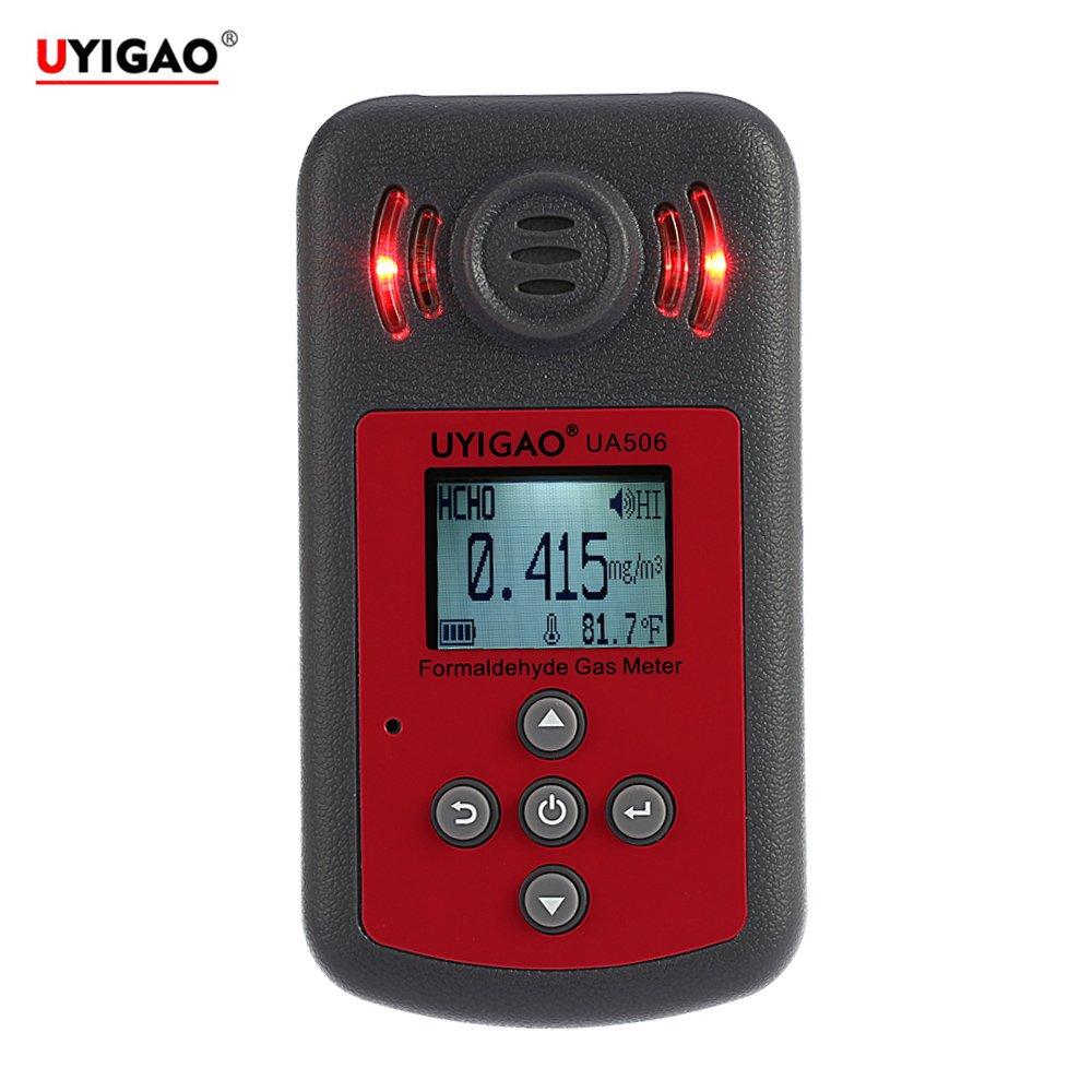 UYIGAO ホルムアルデヒド検出器 ハンドヘルドポータブルメーター LCDディスプレイの音と光のアラーム付き PPM HTVデジタルホルムアルデヒドテスターメタナール濃度モニタ検出器用 B01IR6X0V4