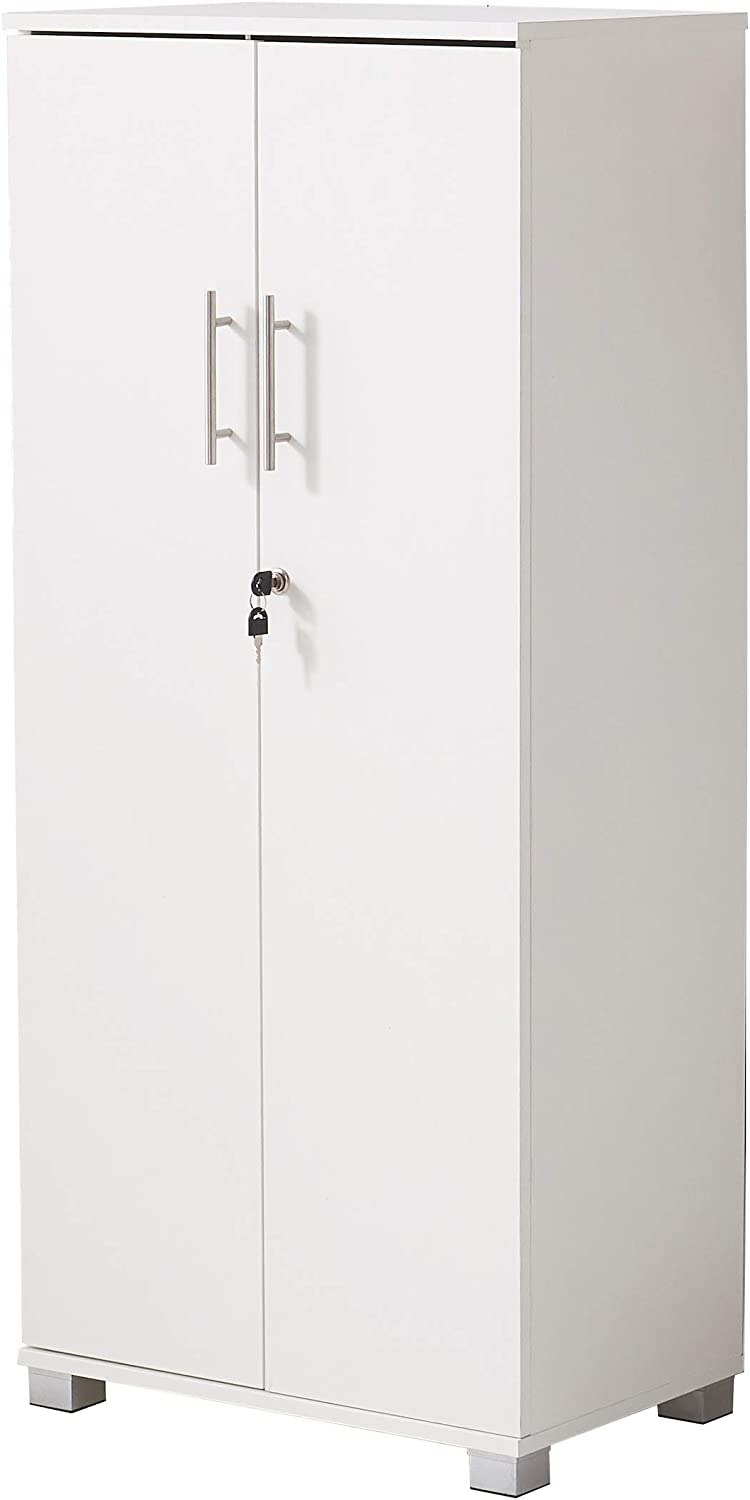 MMT Pantry Cabinet Tall 2 Door Bookcase Kitchen Cupboard/Office Storage Cupboard Filing Cabinet - Lockable, Office Furniture, 3 Storage Shelves (White)