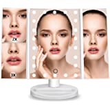 DreamGenius Makeup Mirror Lighted Vanity Mirror with 3X/2X Magnifying Upgraded Led Makeup Mirror with Adjustable Touch Screen