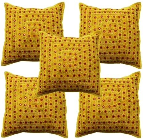 Sophia Art by 5 Pcs Beautiful Embroidered Mirror Work Embroidery Indian Sari Throw Pillow Toss Cushion Covers -