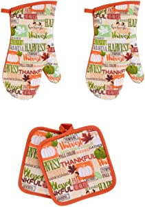 Home Collection Fall Themed Kitchen Oven Mitts Set, Quilted Oven Mitts and Pot Holders, 4 Pieces for Cooking, Baking, Grilling, Barbecue