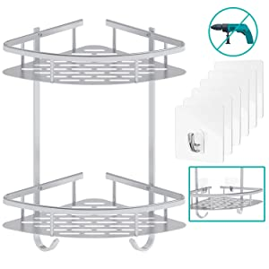 Shower Shelf Flowmist No Drilling Bathroom Shelf Durable Aluminum Kitchen Storage Basket 2 Tiers Bathroom Corner Shelves Adhesive Shower Caddy for Shampoo