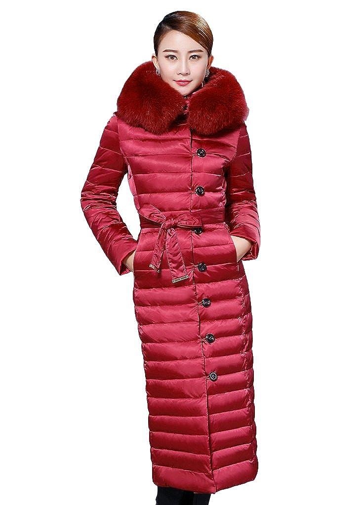 queenshiny Damen Lange Daunenjacke Mantel Jacke mit Faux Fuchs Kragen mit Kapuze unterhalb der Knie Mode Winter