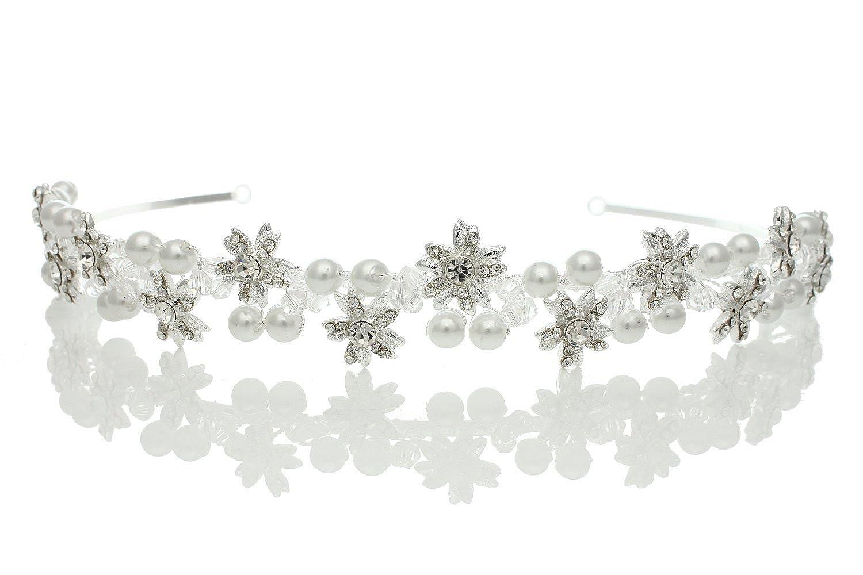 Venus Bijoux Femme mariée mariage Strass Cristal Perle Fleur Motif diadème Venus Jewelry SAMKY-T846