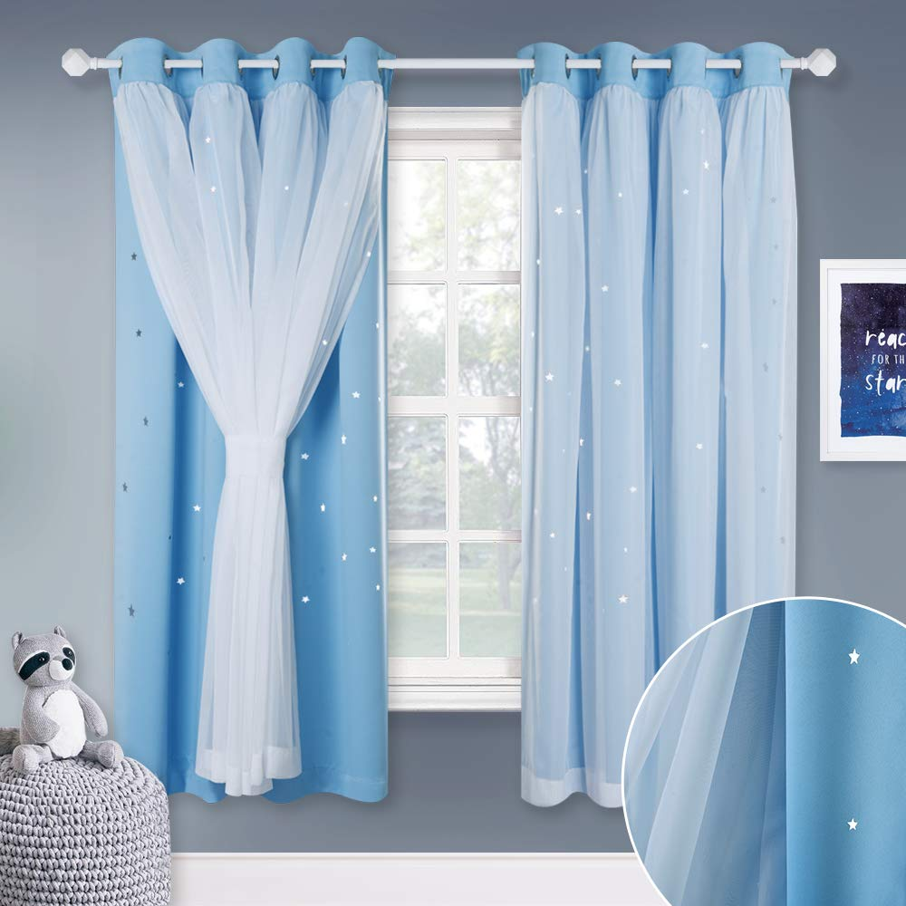 Star Cutouts, bluee 2 Pieces   63H NICETOWN White Sheer Voile & Blackout Drapes Assembled, Mix & Match Star Cut Curtain Panels With Versatile Styling Options for Dining Room, Guest Room (Greyish White, Each is W52 x L84, Sold by 2 Pcs)