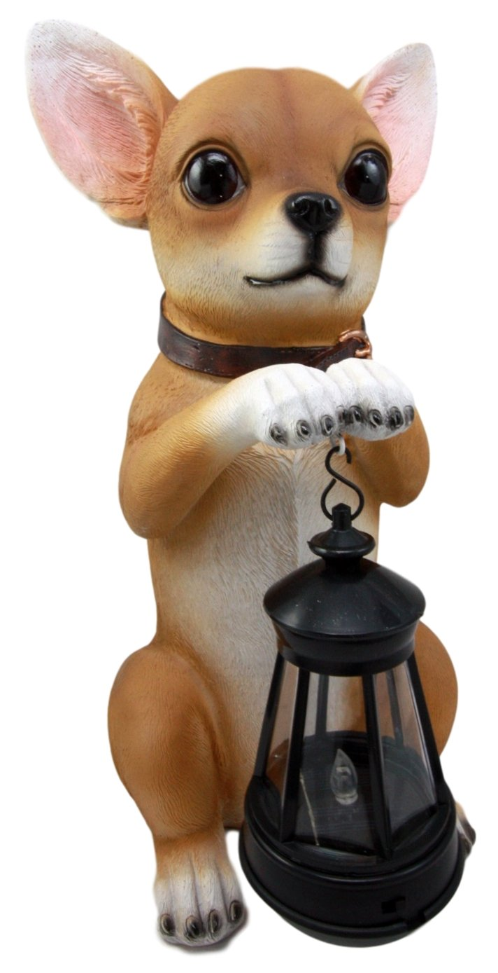 Atlantic Collectibles Deer Head Mexican Aye Chihuahua Dog Garden Patio Figurine W/ Solar LED Light Lantern Lamp 14''H