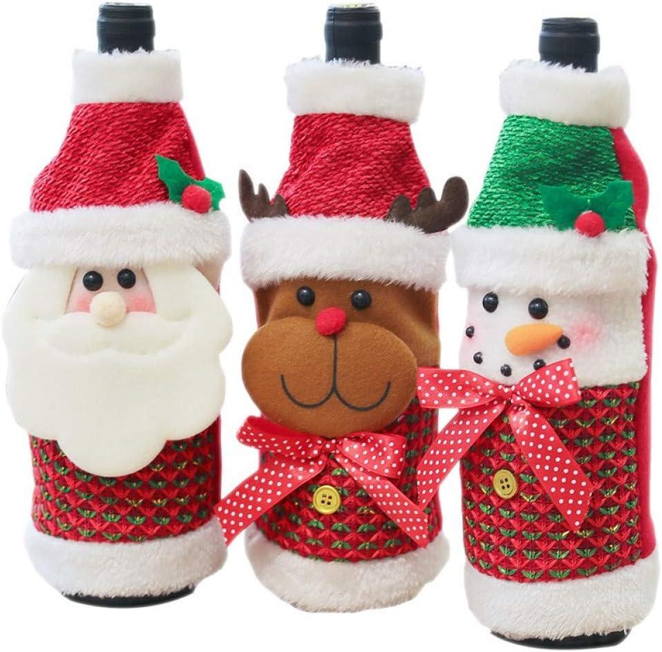 QACFD 2 Juegos de 6 Piezas Decoraciones navideñas Papá Noel Tapa de la Botella de Vino Titulares de Regalo de muñeco de Nieve Navidad Decoración de Navidad Año Nuevo Cena Fiesta Decoración
