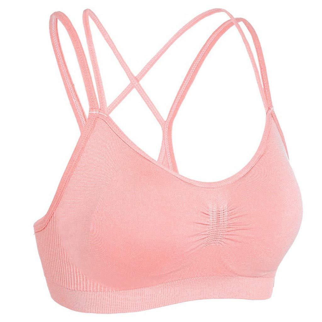 POHOK Women Yoga Tops Women Sling Stretch Sport Bra Padded Fitness Tank Tops Workout Gym Yoga Vest (M,Pink)