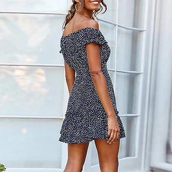 VEMOW Faldas Mujer Tops Vestido Informal de Verano sin Mangas con ...