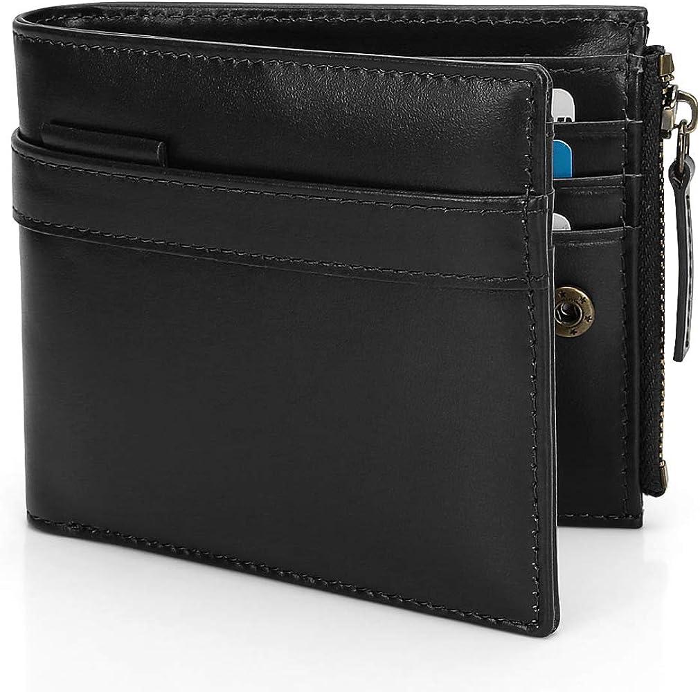 8f223c614c65bf 財布 二つ折り ウォレット 本革製 小型で大容量 薄型 小銭入れ付 RFID&磁気スキミング防止 14ポケット カードと紙幣大量収納可 高級感あり  手触り良い 短サイフ ...