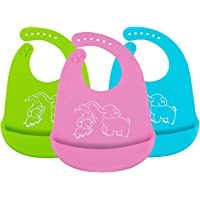 SODIAL Waterproof Silicone Baby Bibs, Adjustable Soft Feeding Bibs with Food Crumb Catcher Pocket for Babies 3 Pack (Blue/Green/Pink)