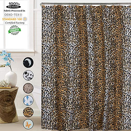- ROYACOR Fabric Shower Curtain with 12 Polyresin Hooks, Water-Repellent Rustproof Bath Curtain, 72x72 Non Toxic 100% Durable Polyester Shower Curtain Liner, Machine Washable,Easy to Install-Leopard