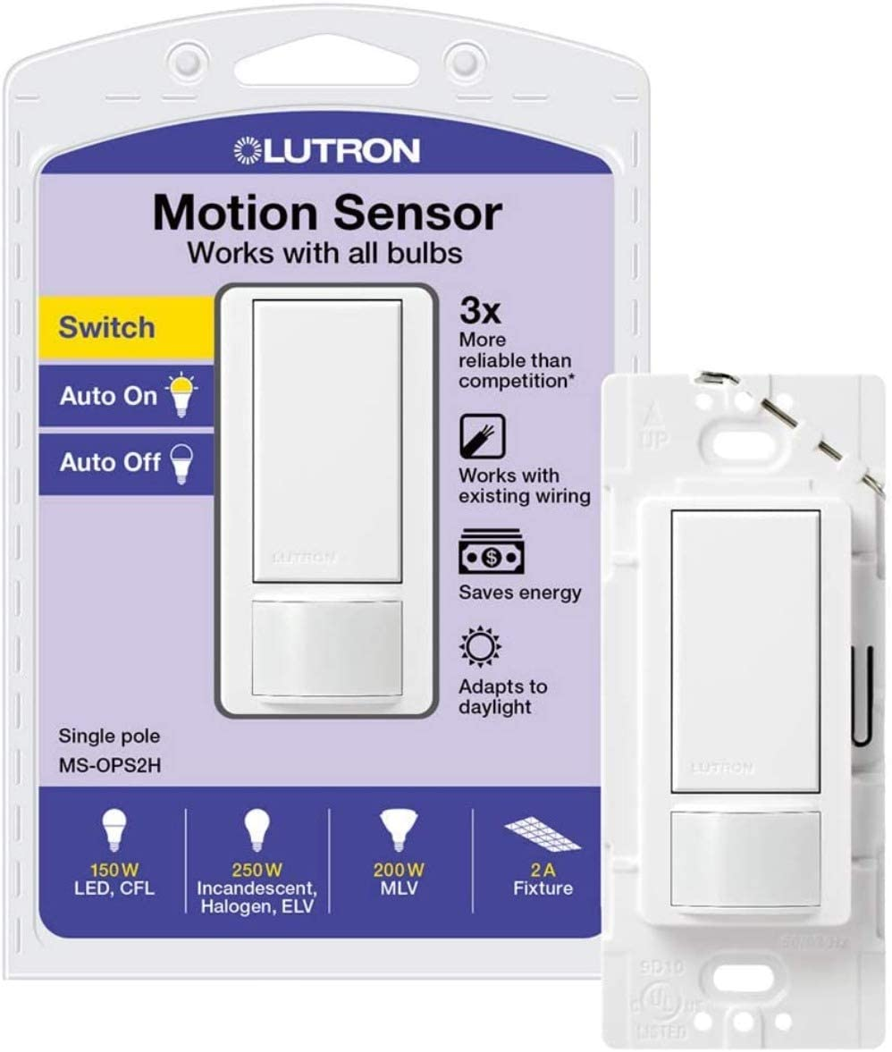 Lutron Maestro Motion Sensor Switch, No Neutral Required, 250 Watts,  Single-Pole, MS-OPS2-WH, White - Electrical Outlet Switches - Amazon.comAmazon.com