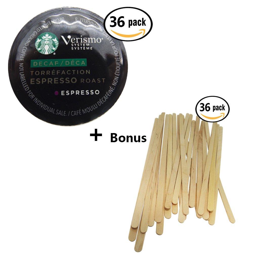 Espresso Bundle; Verismo Decaf Espresso Decaffeinated Pods 36 count + 36 Starbucks Wood Coffee Stirrers BonusV