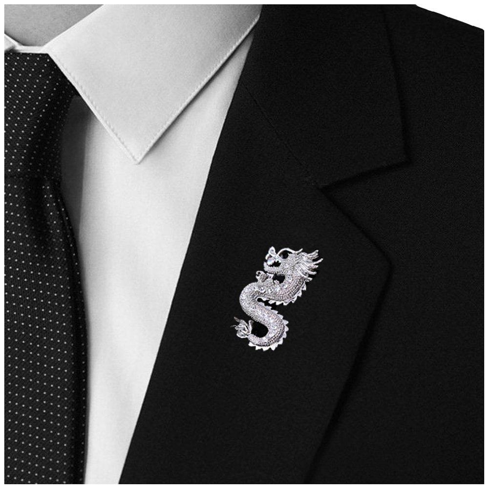 Amazon.com: Mens Handmade Dragon Lapel Pins Tie Pin Suit Brooch ...