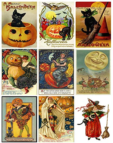 Victorian Vintage Halloween Printed Collage Sheet 8.5 x (Halloween Collage Sheet)
