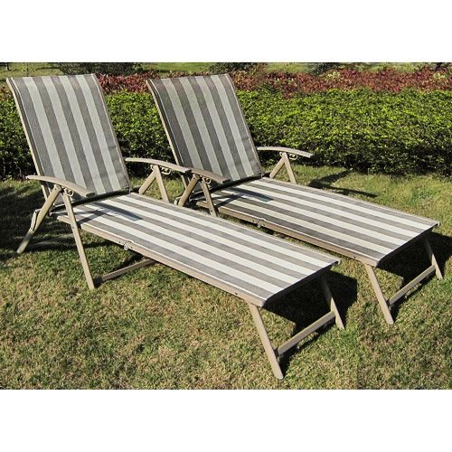 Mainstays Fair Park Sling Folding Lounge Chairs, Set of 2...