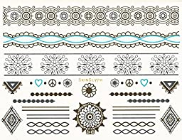 97 Beautiful Silver and Gold Foil Temporary Tattoos. In a Flash, Tattoos Will Look glamorous and sexy. (5 Sheets plus 10 Bindis)