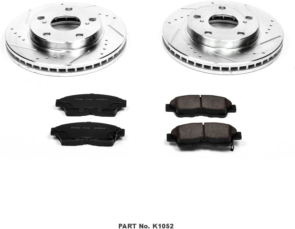 Power Stop K1052 Front Z23 Evolution Brake Kit with Drilled//Slotted Rotors and Ceramic Brake Pads