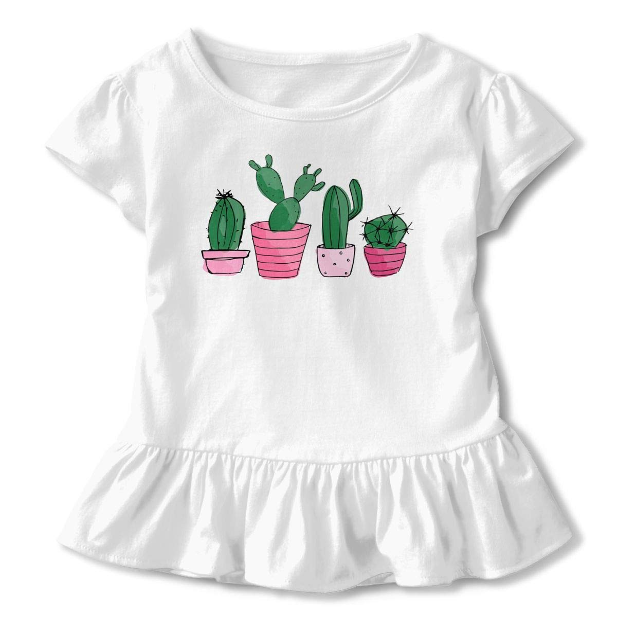 Cacti Cactus Toddler Baby Girls Cotton Ruffle Short Sleeve Top Soft T-Shirt 2-6T